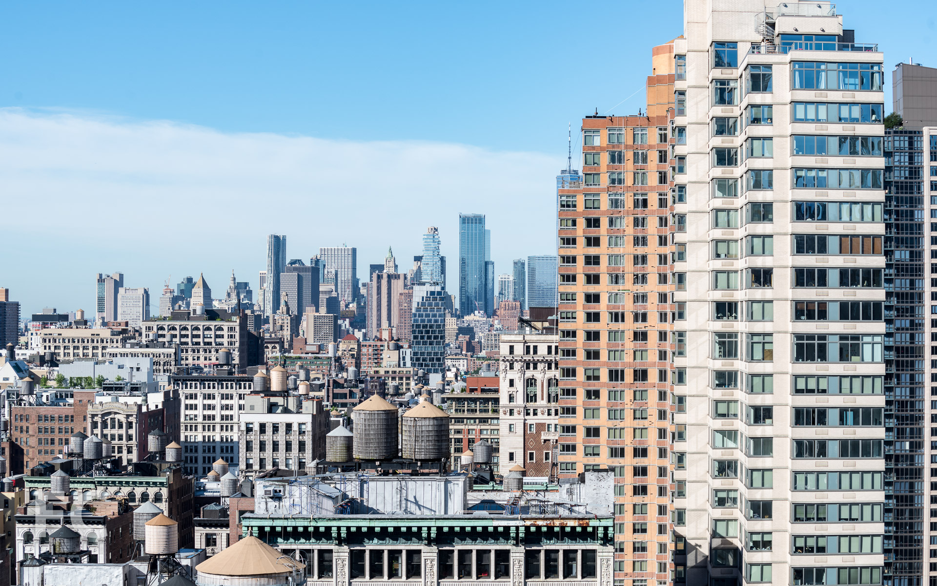 View of Lower Manhattan from a private terrace.