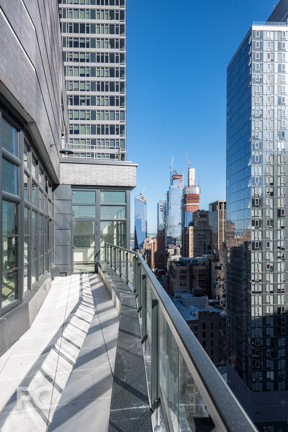 View west towards Hudson Yards from a private terrace.