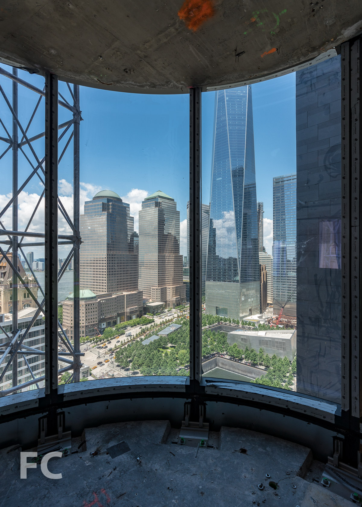 Looking towards the World Trade Center site from the curtain wall installed on the 25th floor.