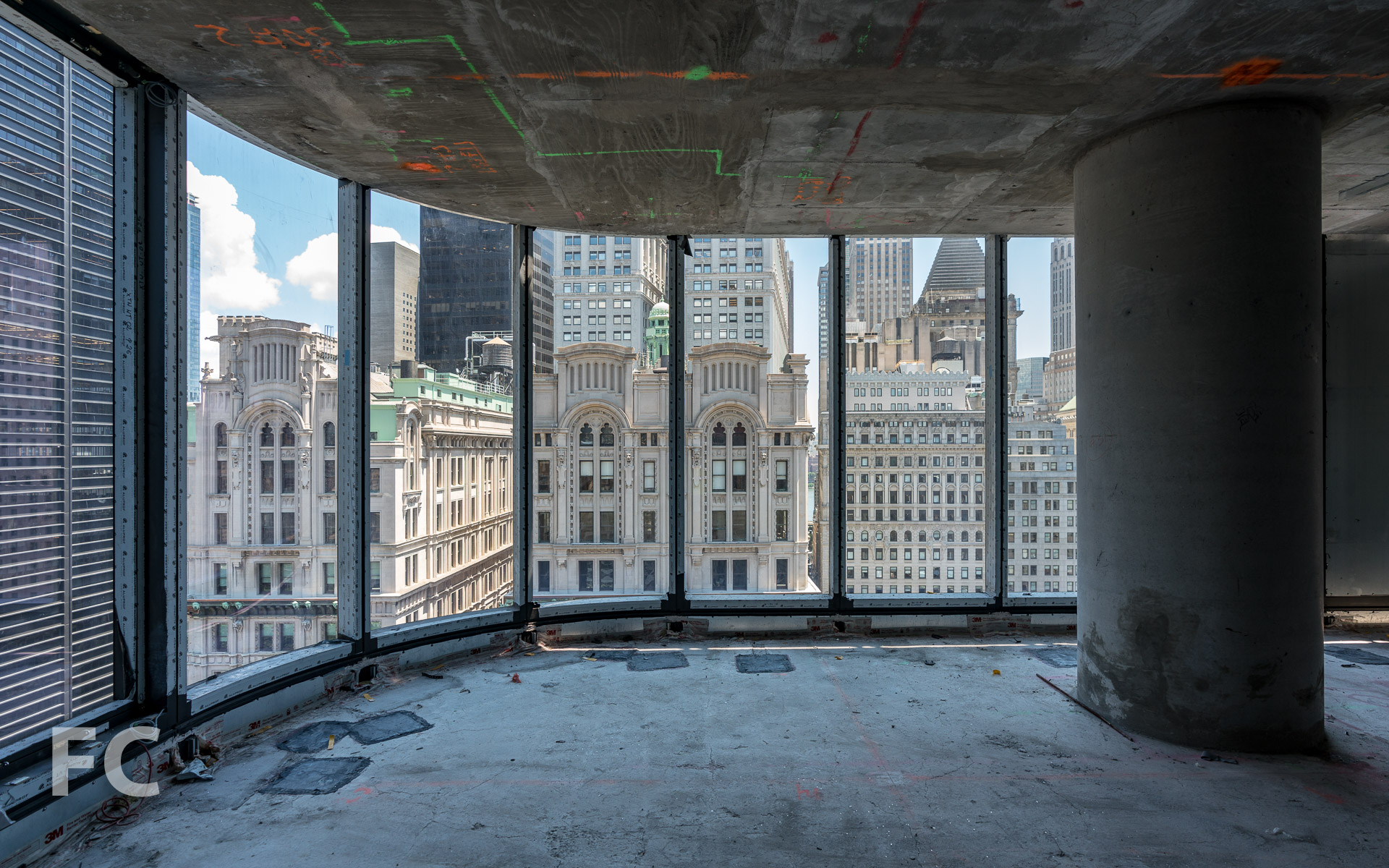 Looking towards the east from the curtain wall installed on the 25th floor.