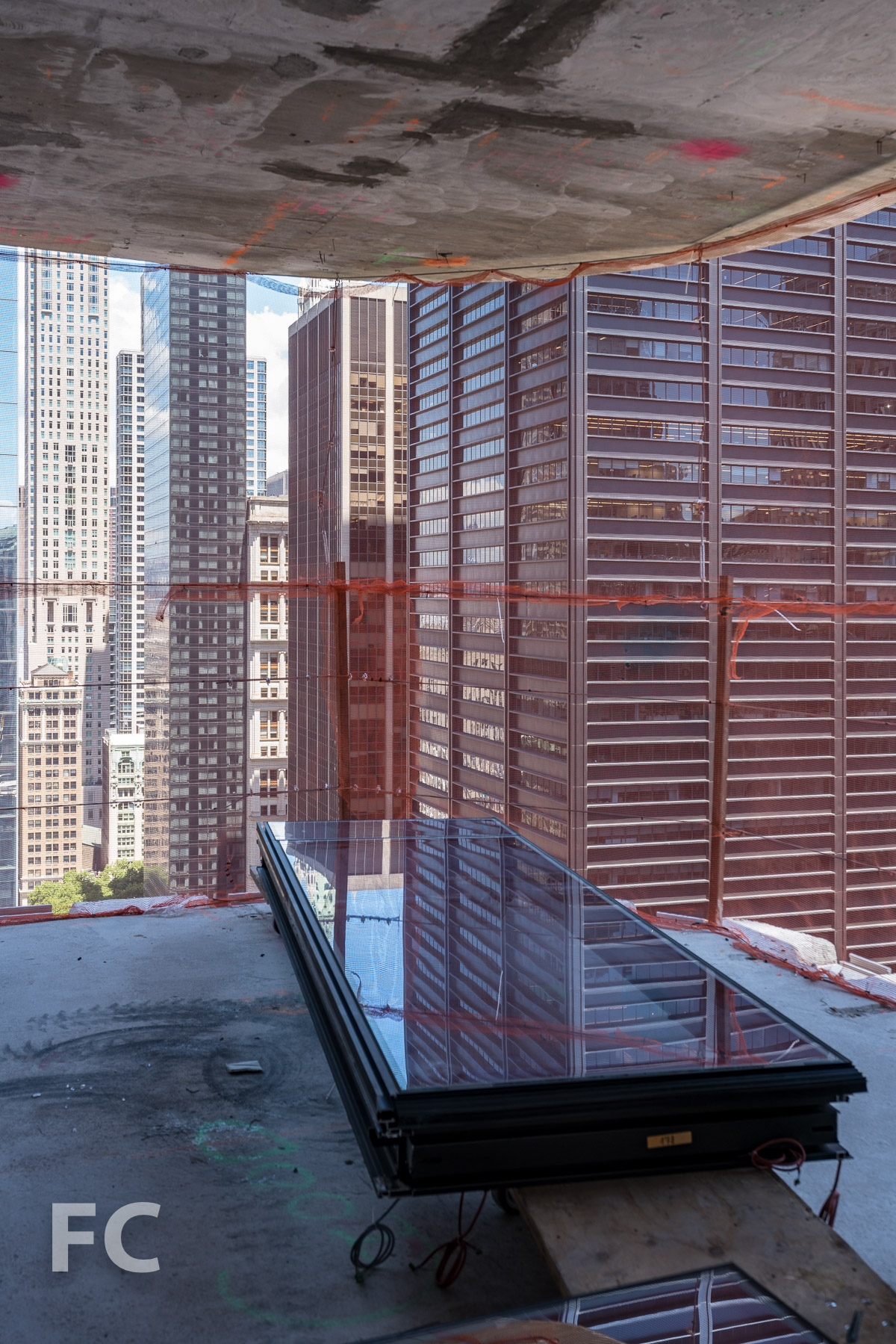 Curtain wall panel awaiting installation at the northeast corner of the tower.