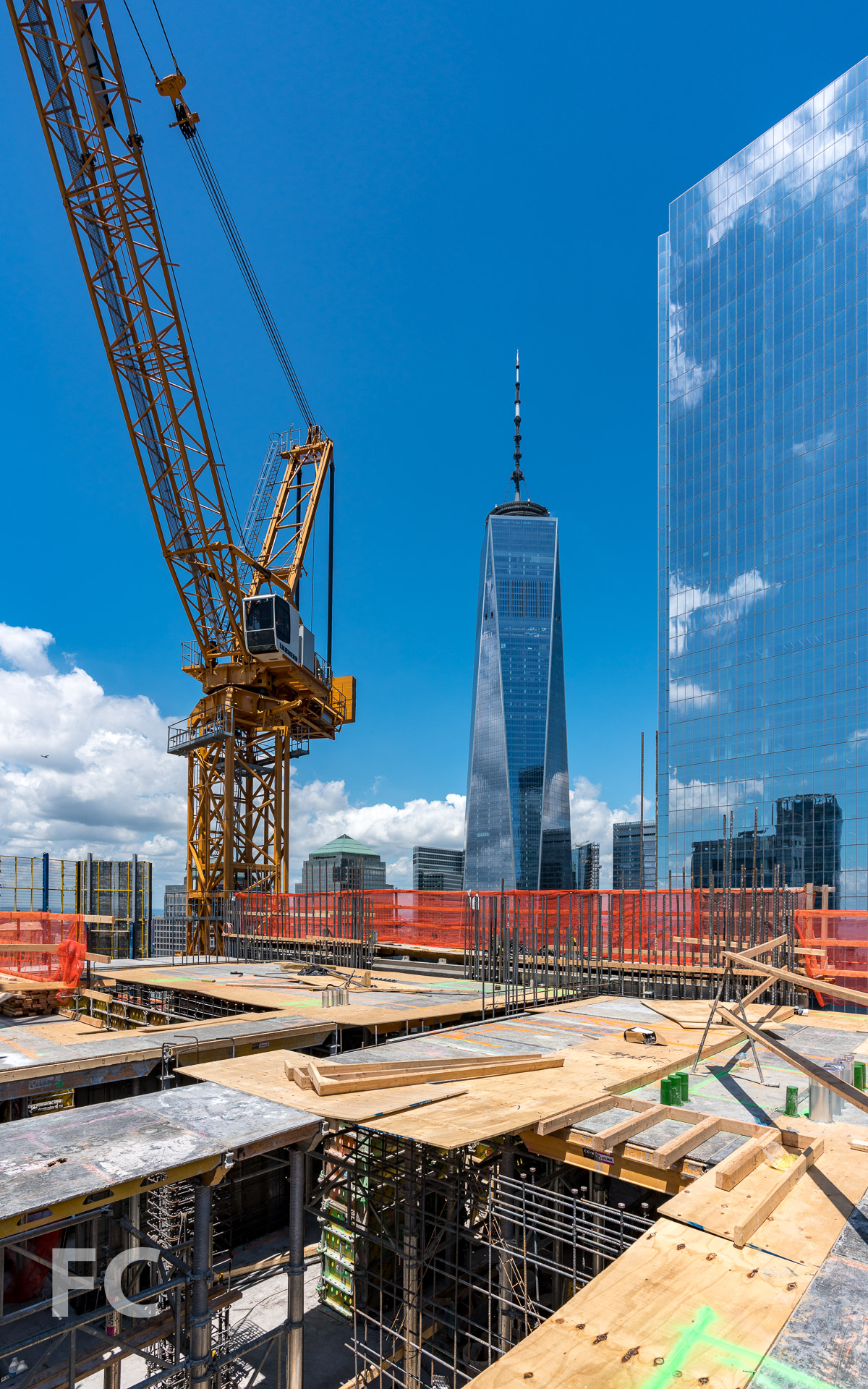 Framing out the slab of the 45th floor.