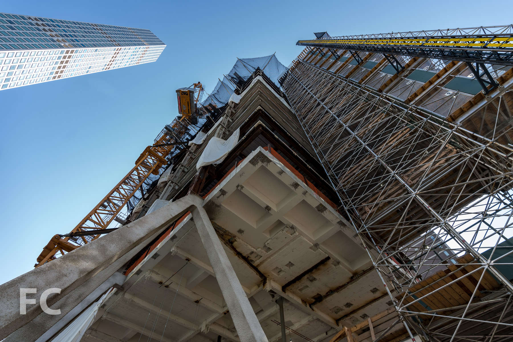 Looking up at the diagrid setback from the triple height space of floor 12.
