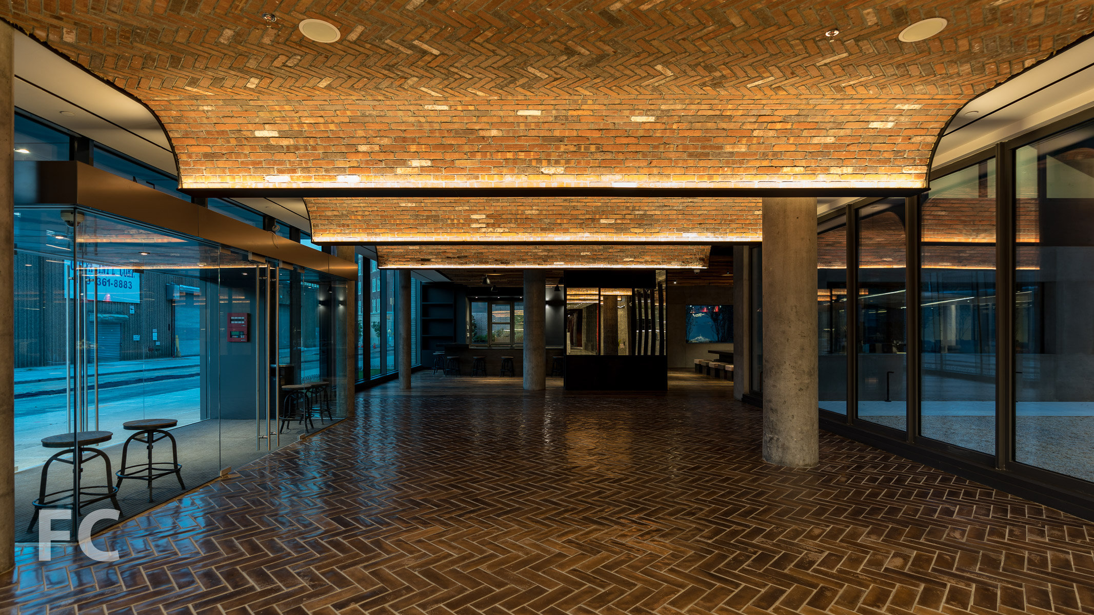 Residential lobby.