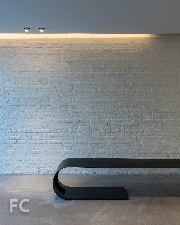 Residential lobby bench.
