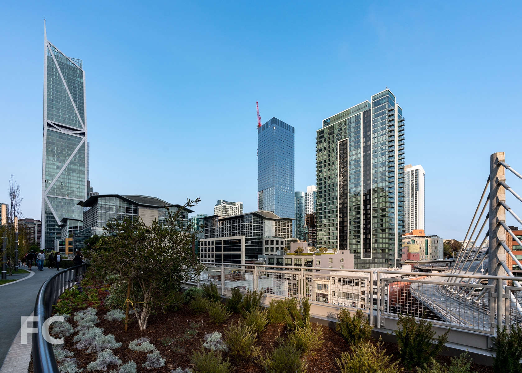 Southwest corner of the tower from the Transbay Transit Center's rooftop park.