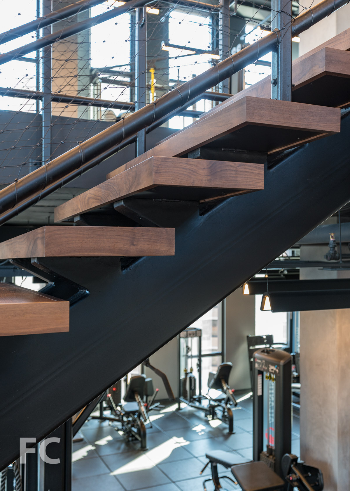 Stair detail in the fitness center.