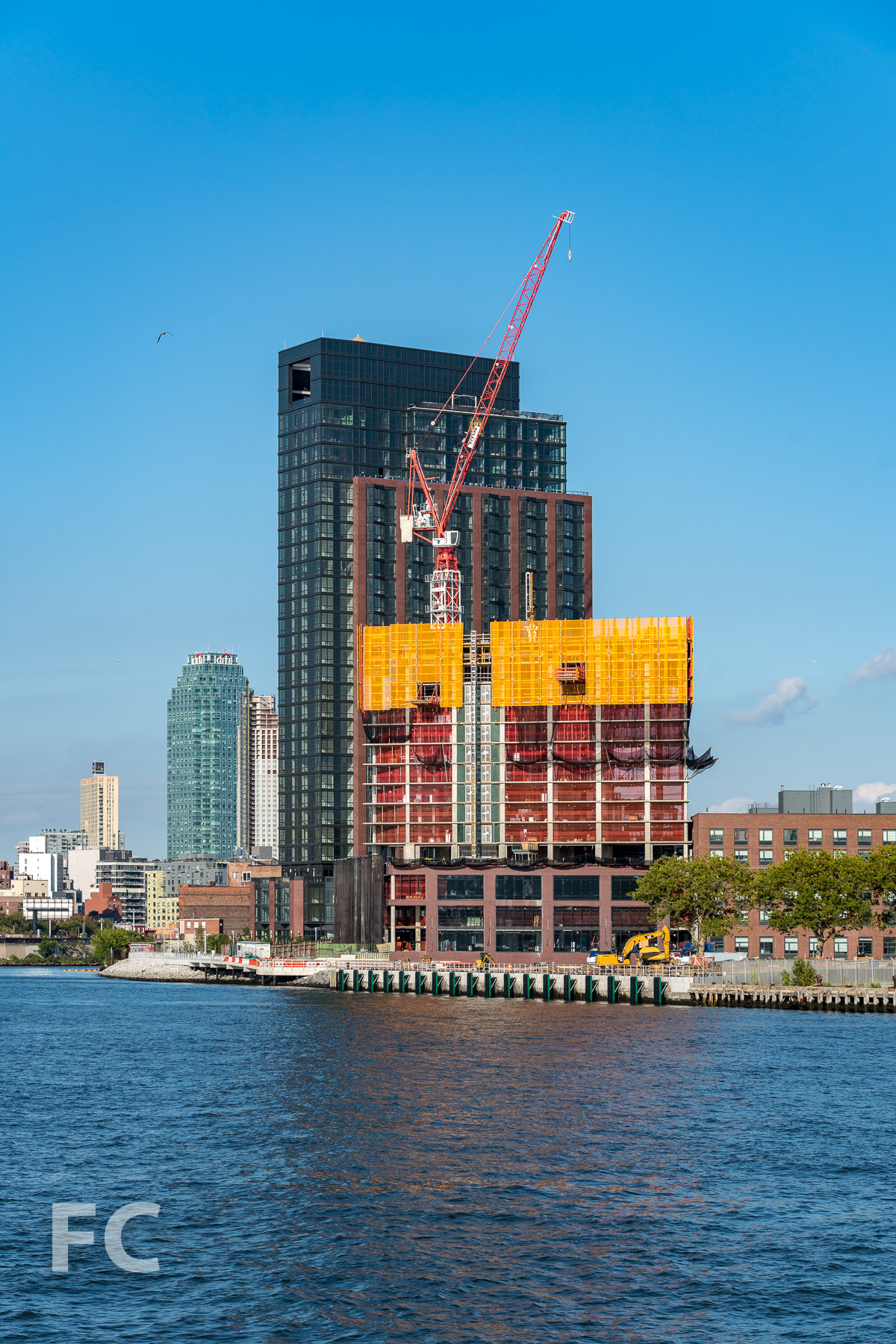 Northwest corner of 37 Blue Slip (background) and 41 Blue Slip (foreground) from the East River.