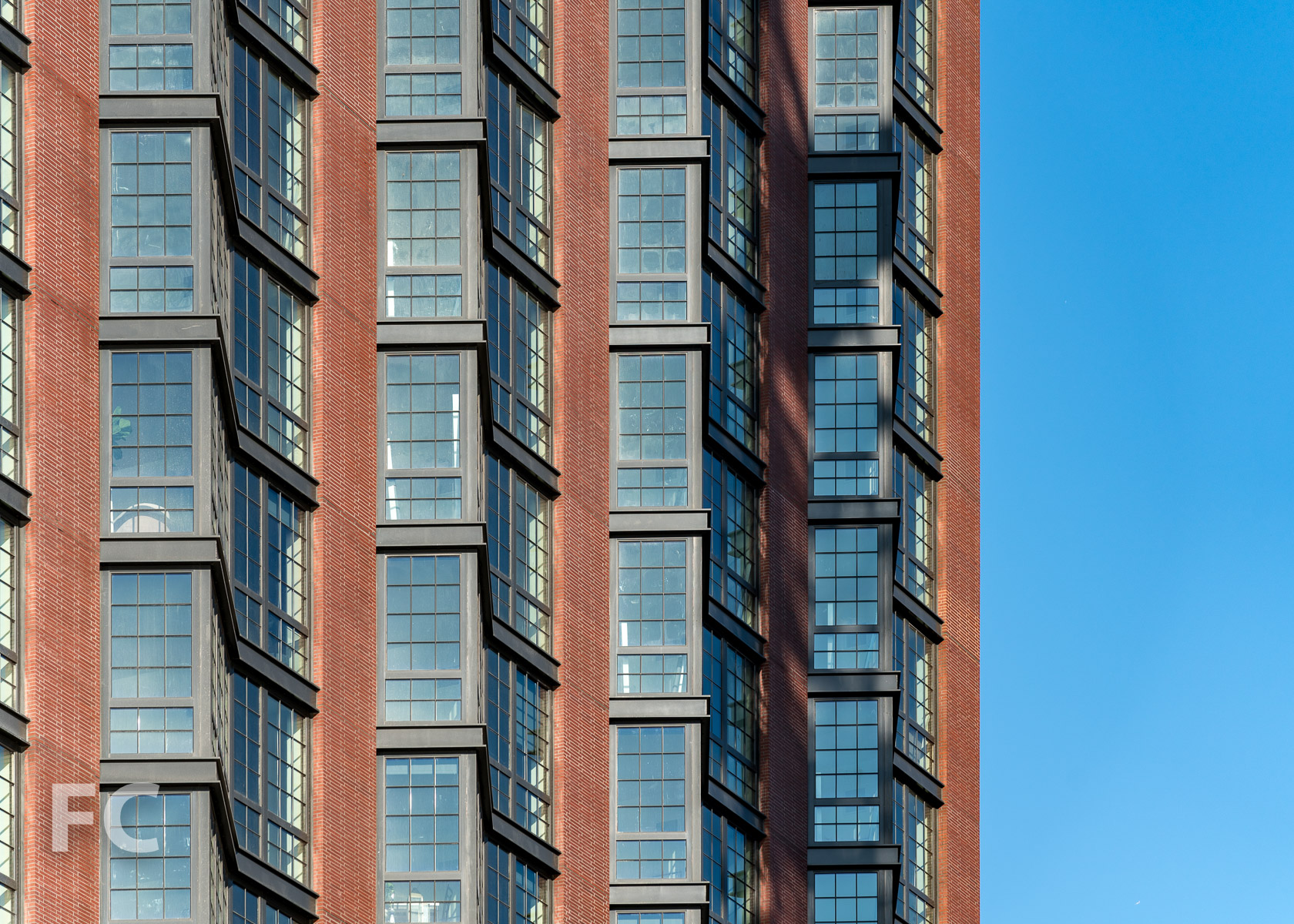 Close-up of the west facade of 37 Blue Slip.