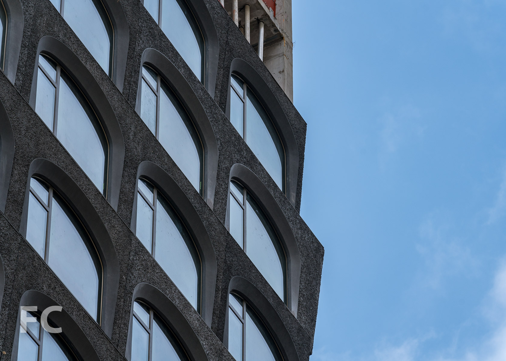 Closeup of the north facade panels.