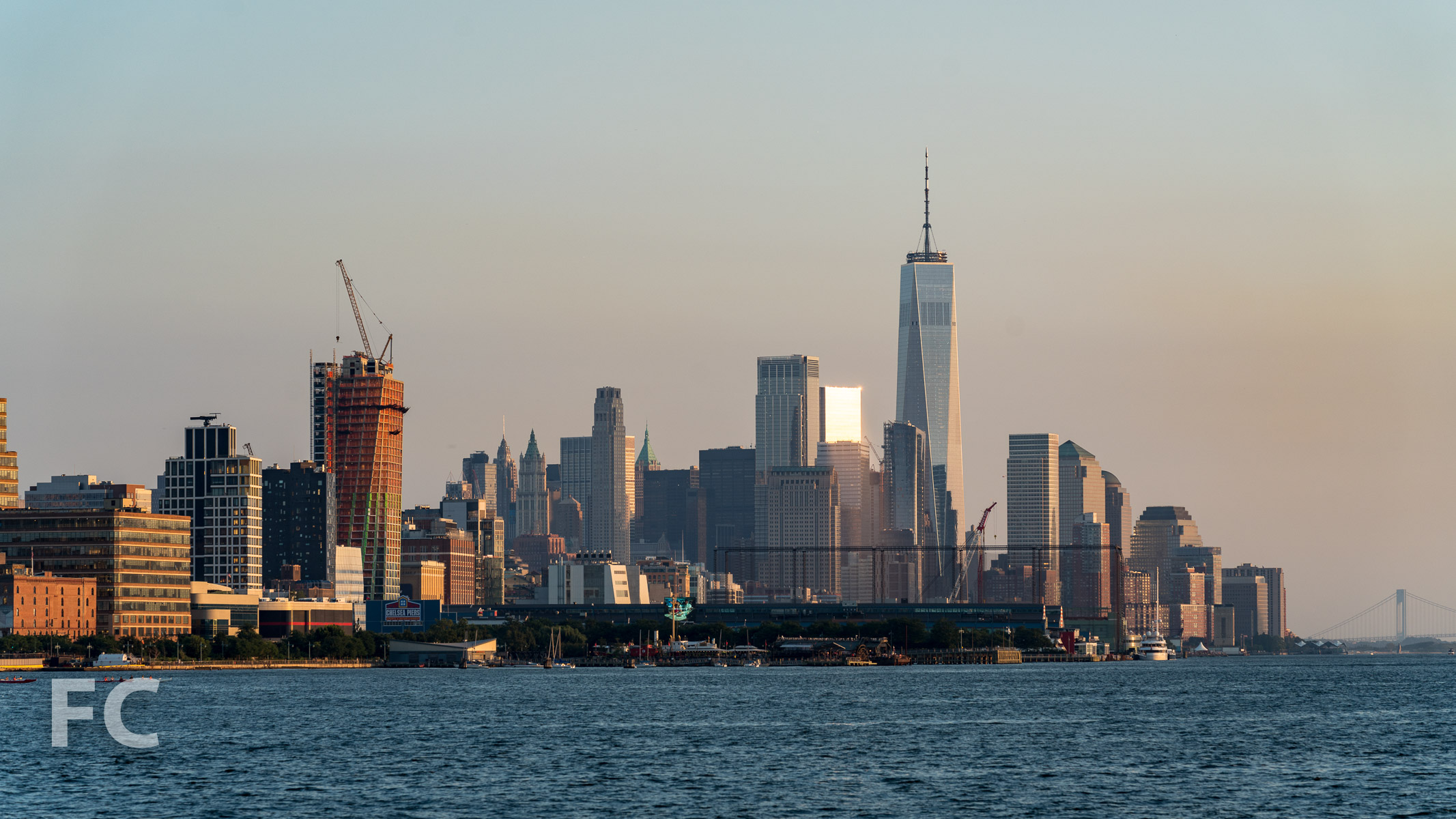 Looking south towards the west tower (left) and Lower Manhattan.