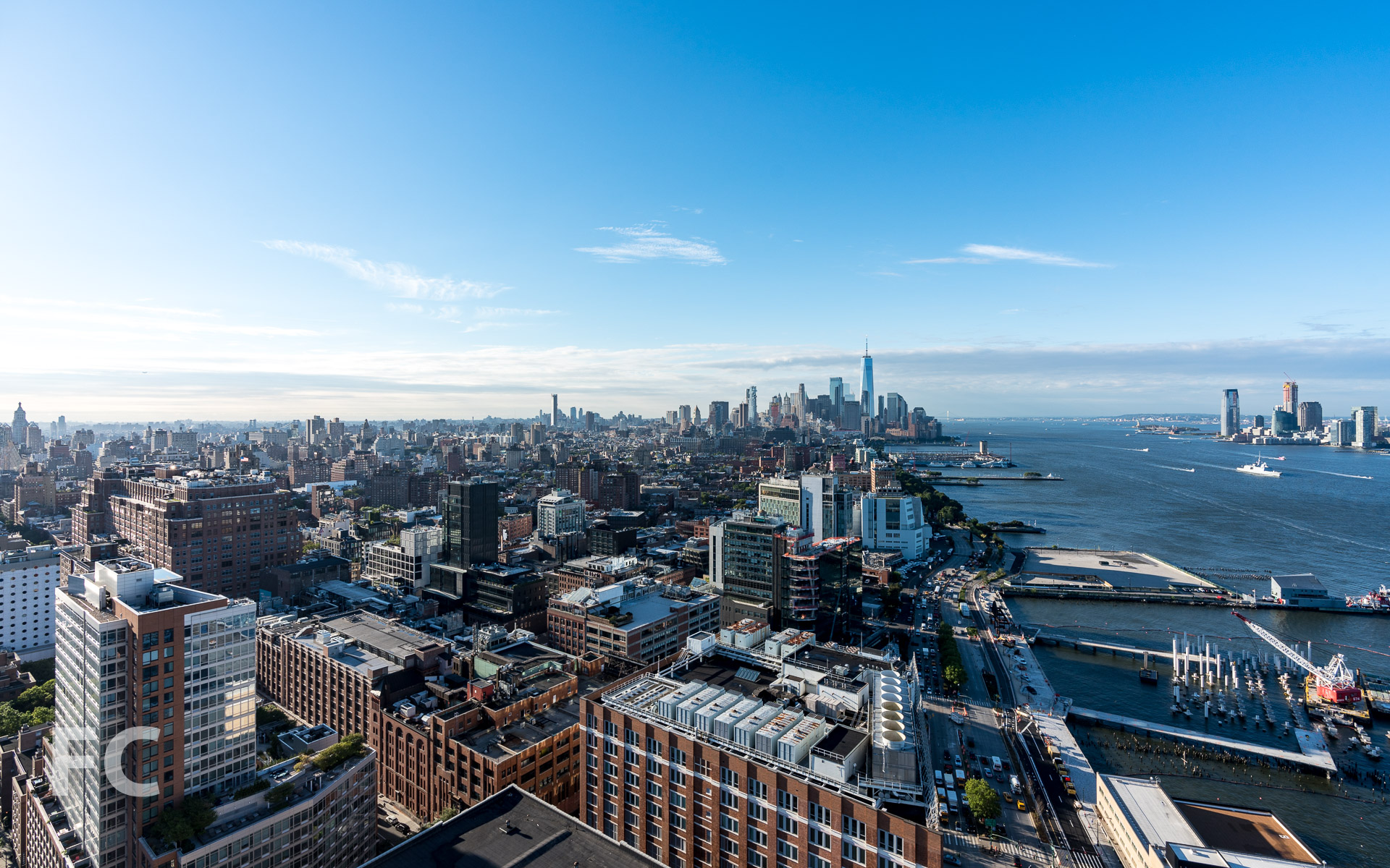 View south towards Chelsea and Lower Manhattan from the rooftop of the west tower.