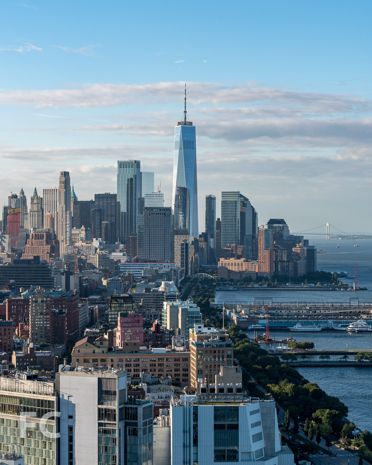 Rooftop view of One World Trade Center rising above Lower Manhattan.