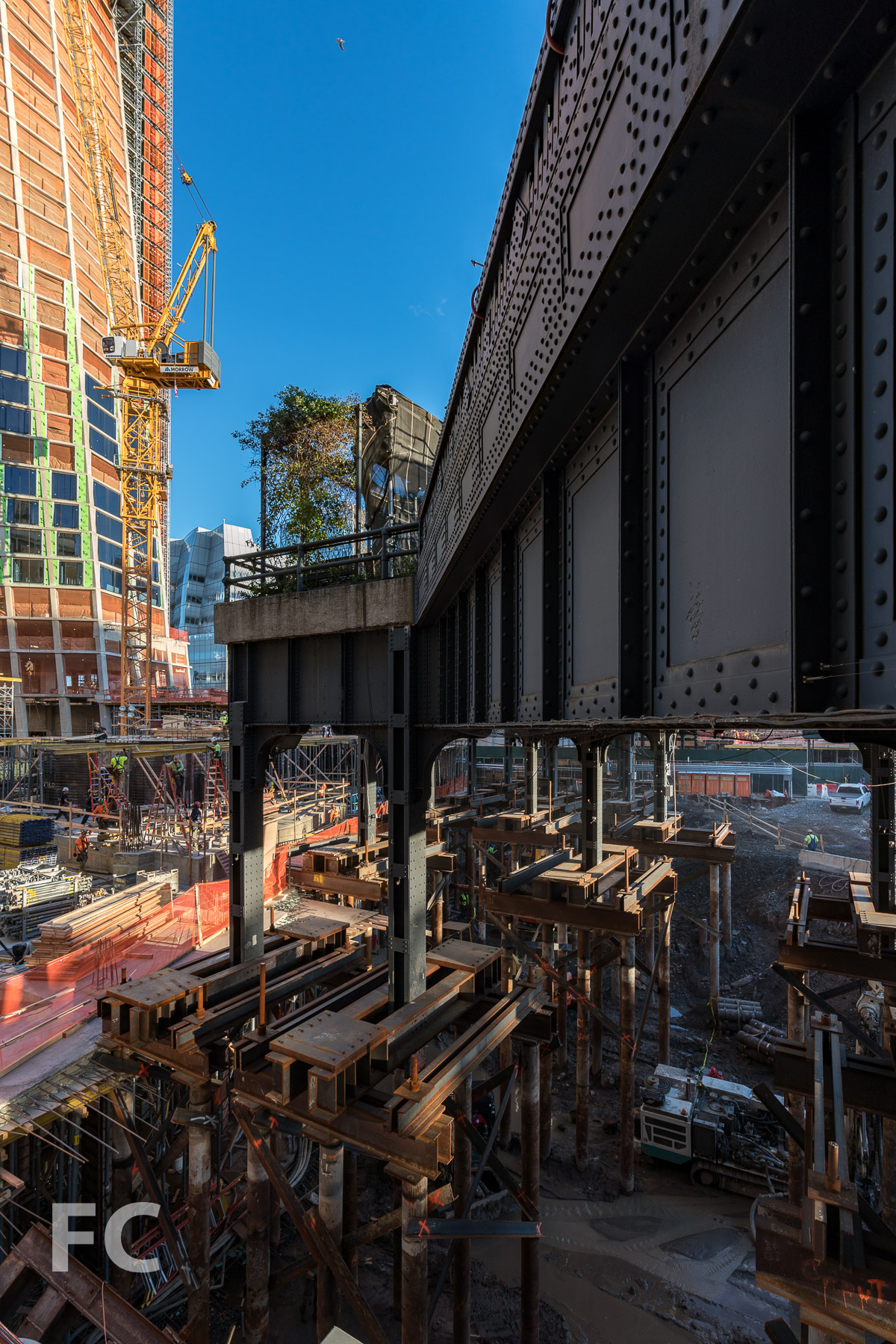 East tower and sitework underneath the High Line.