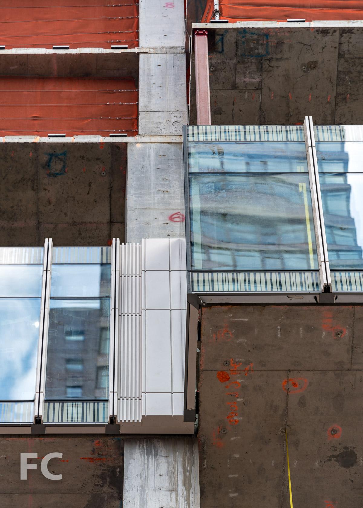 Closeup of the facade panels on the south facade.