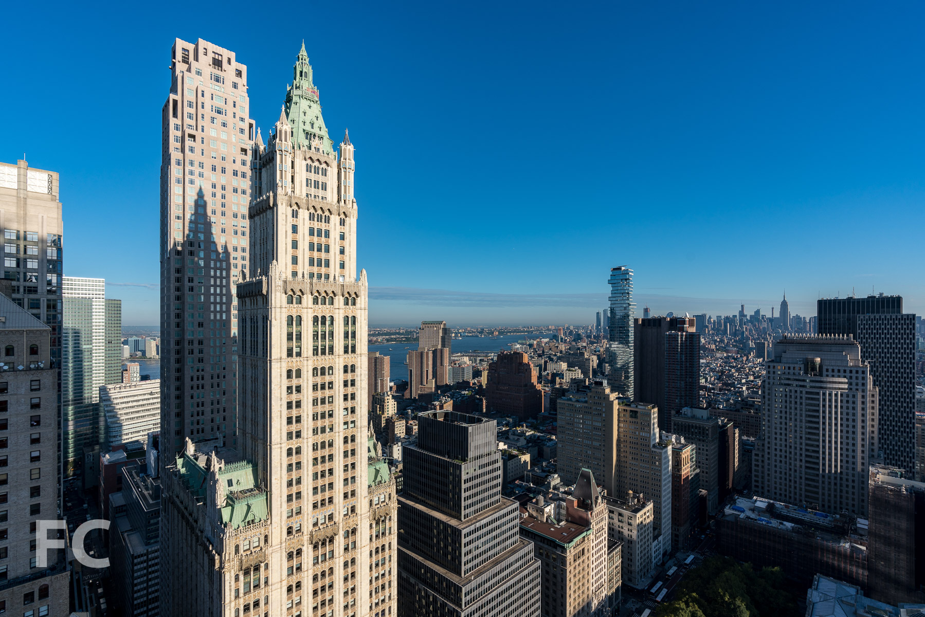Looking northwest from the 41st floor towards the Woolworth Building.