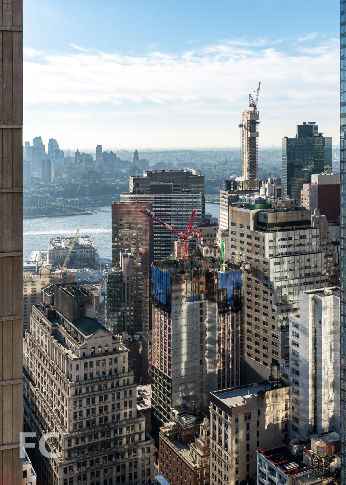Looking east from the 41st floor towards Lower Manhattan and the Brooklyn waterfront.