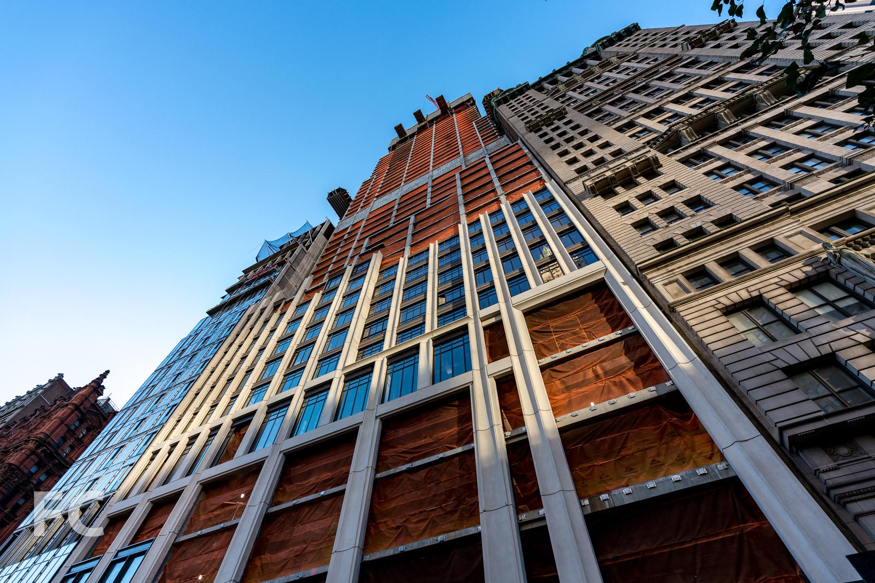 Looking up at the north facade.