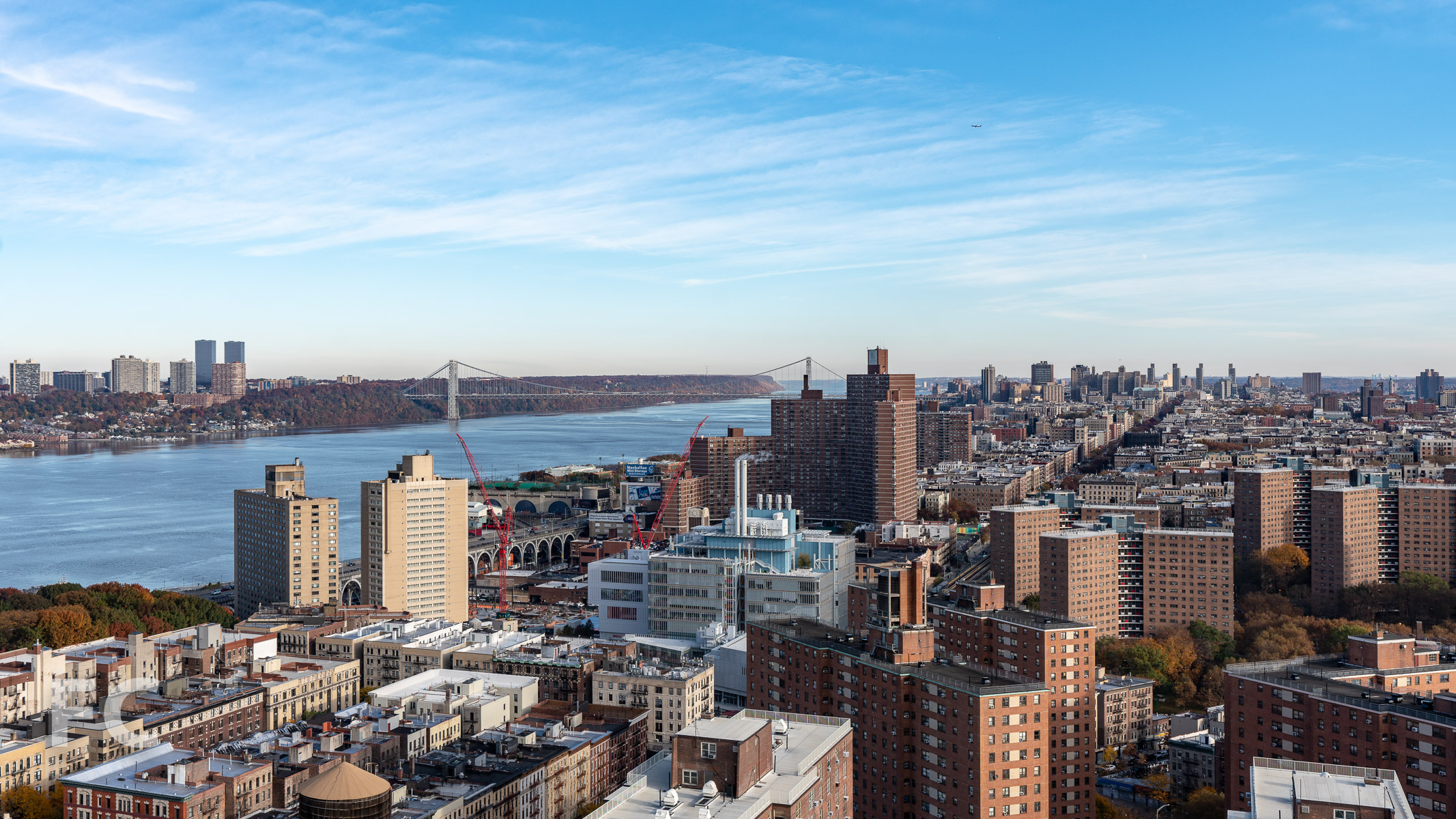 View northwest towards Columbia University's Manhattanville expansion campus and Harlem from an upper floor.