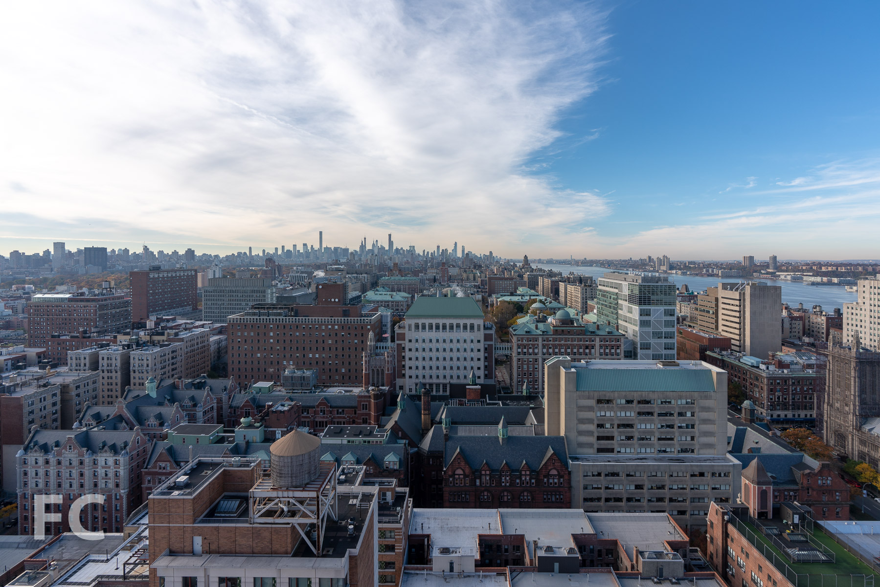 View south towards the Columbia University campus and Midtown from an upper floor.