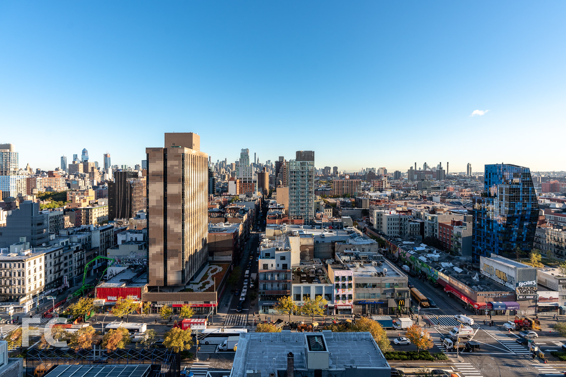 View north towards the Lower East Side from the private terrace.