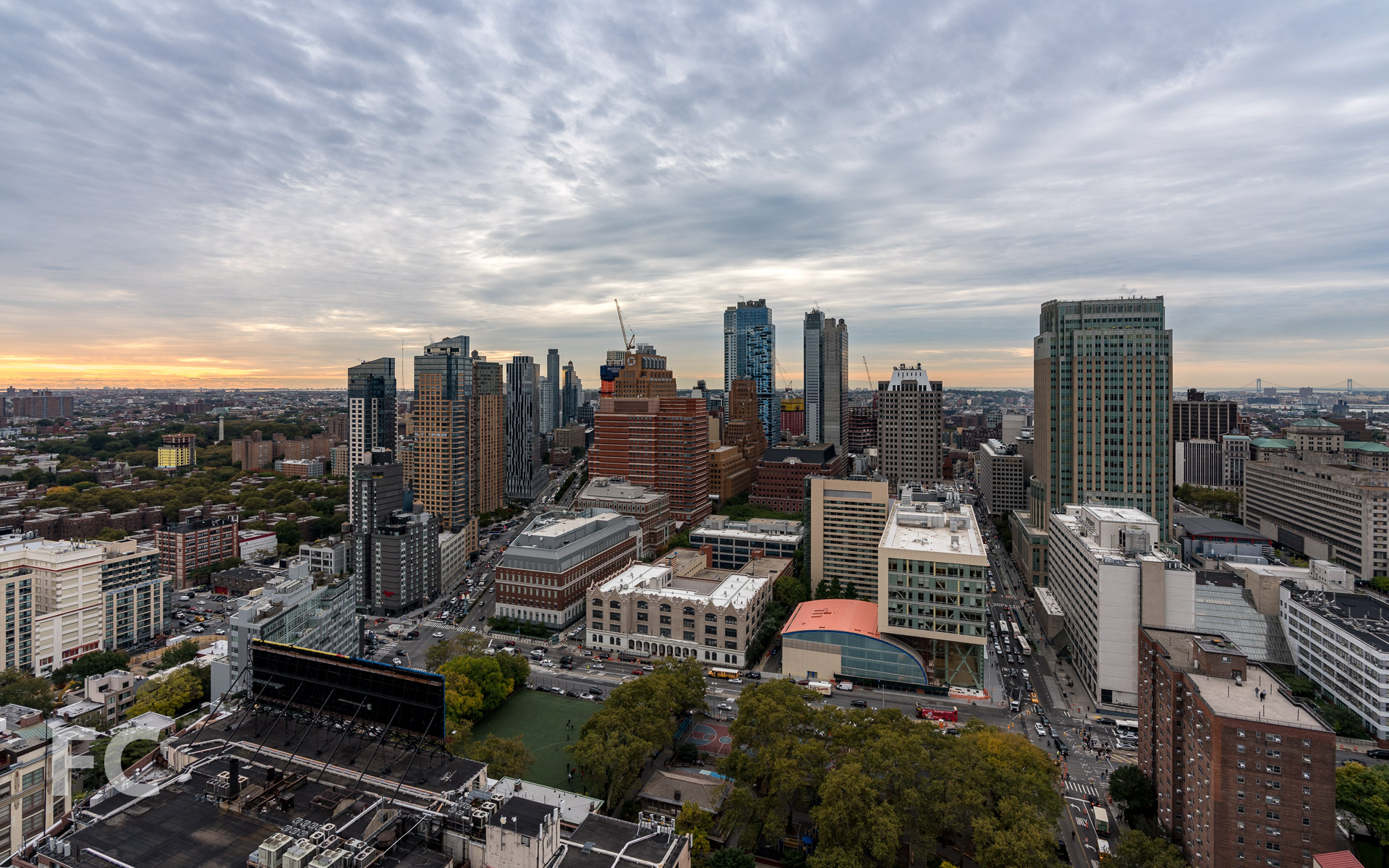 View towards Downtown Brooklyn from the residential amenity terrace.
