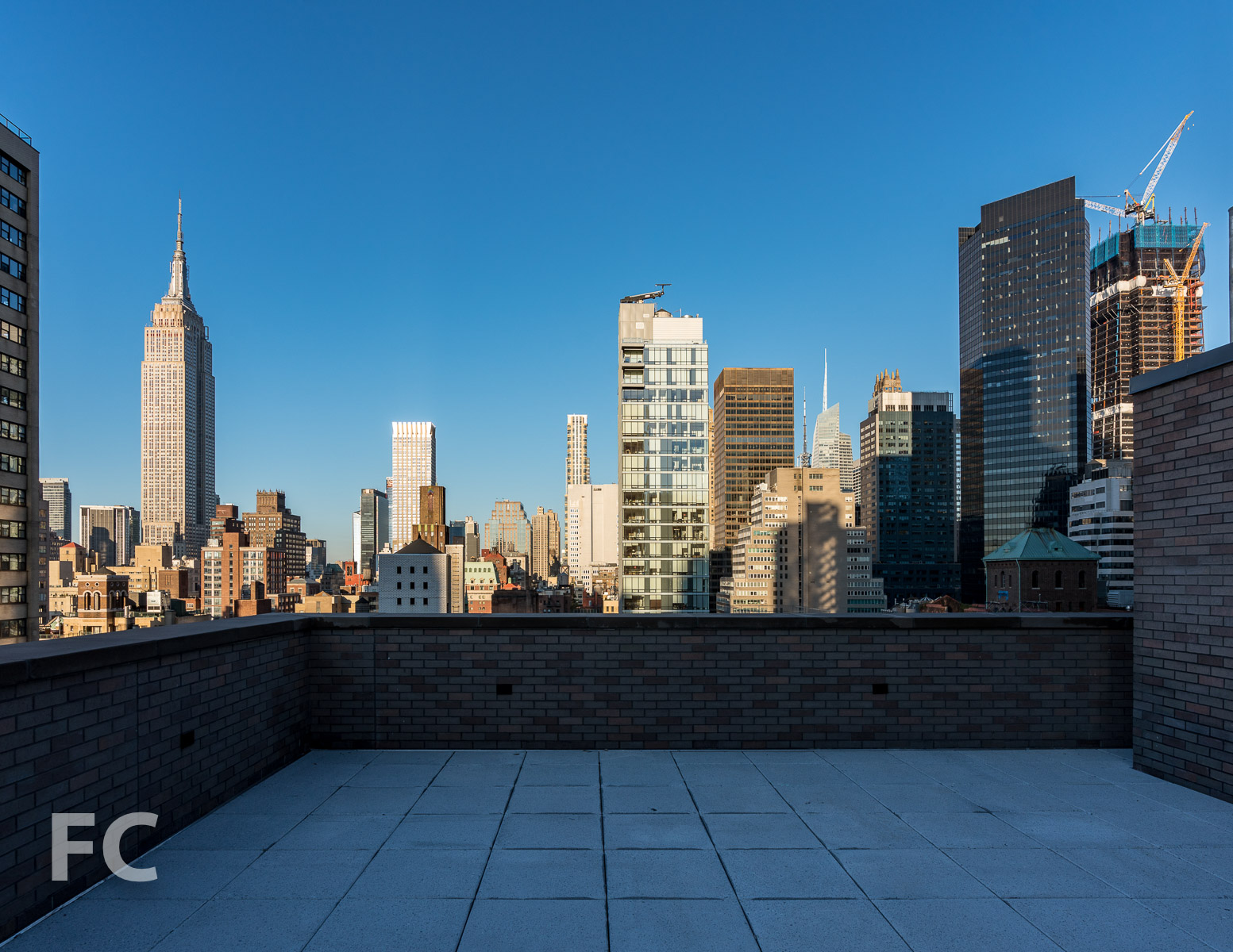 View west from the rooftop terrace.