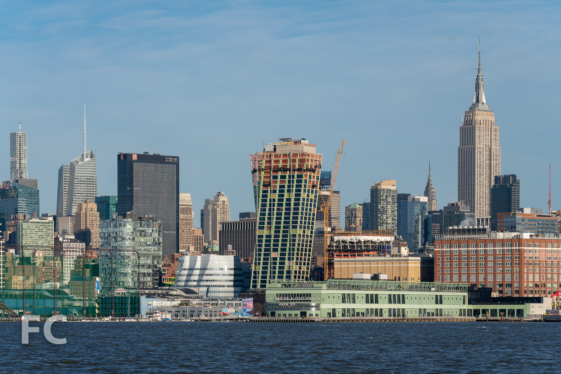West facades from the Hudson River.