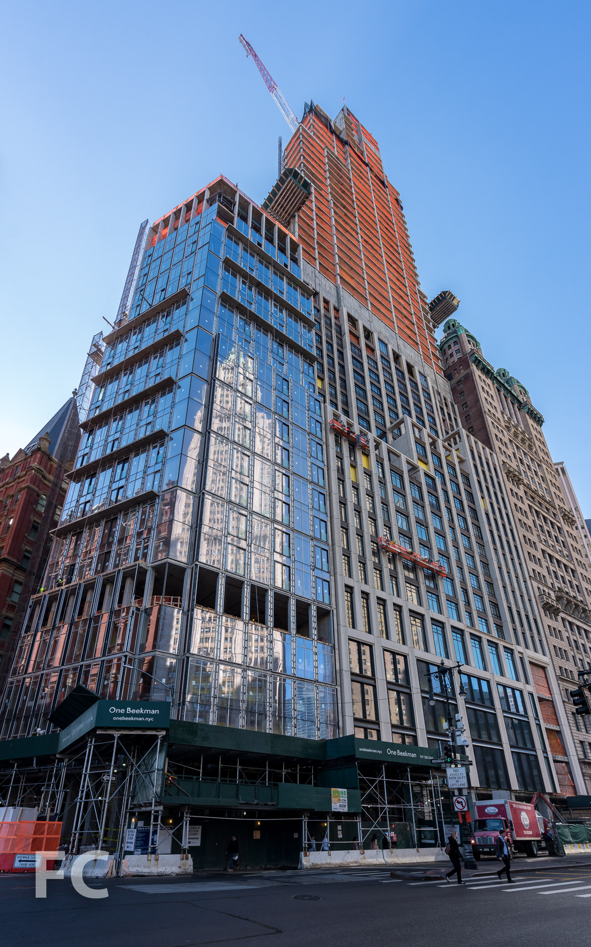 Looking up at the northeast corner of 1 Beekman (left) and 25 Park Row (right).