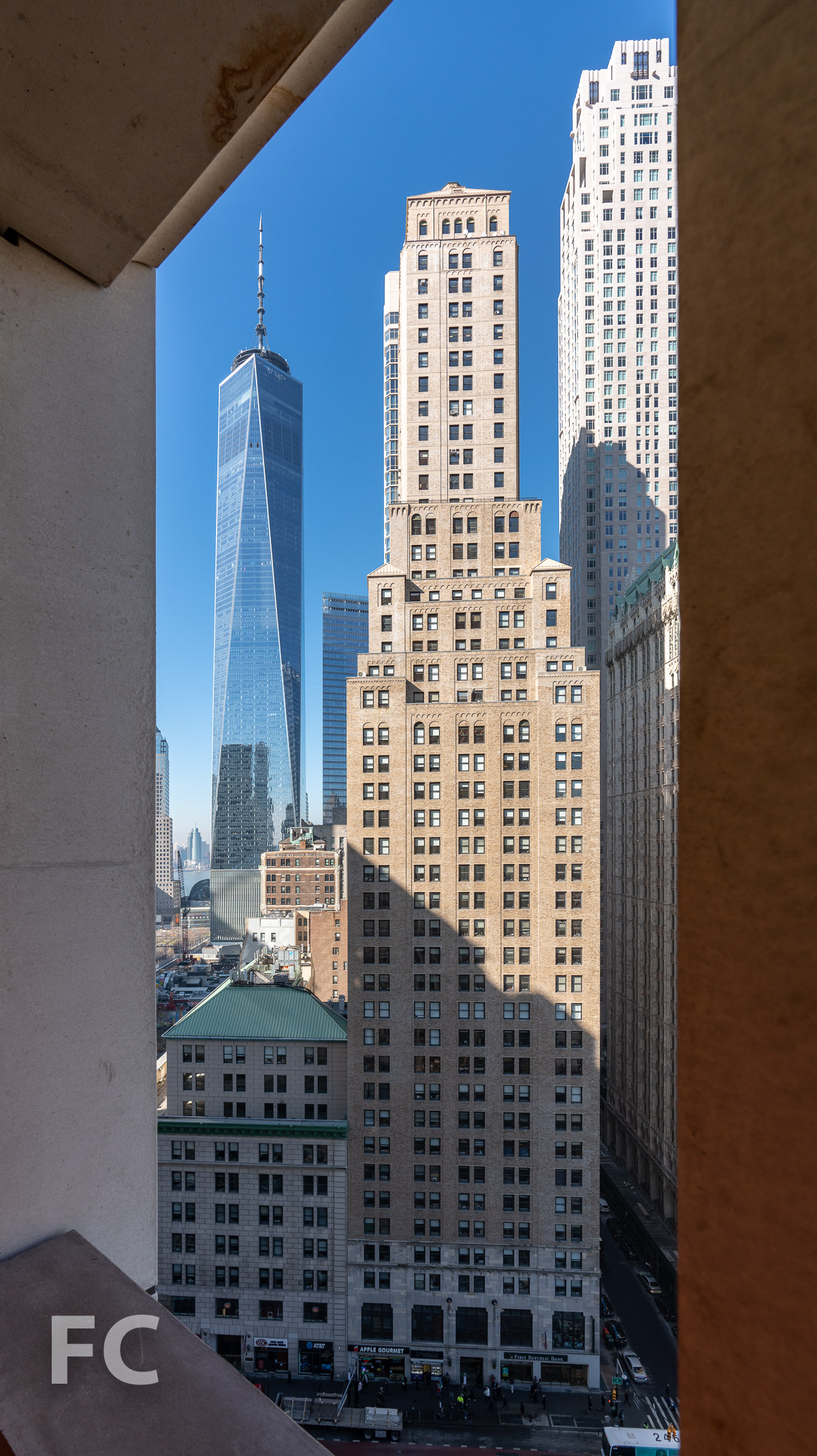View west towards the World Trade Center from a private loggia.