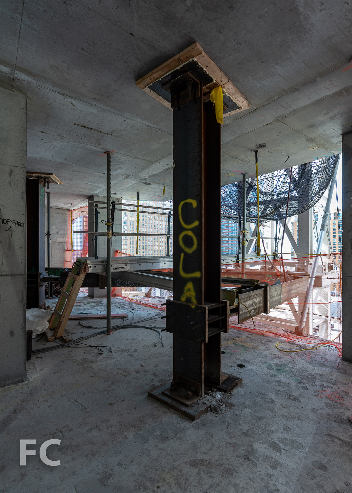 Tower crane support at a lower tower floor.