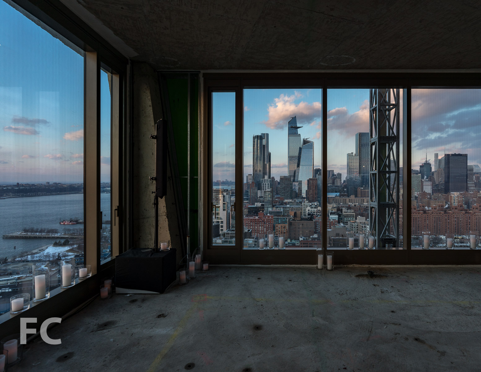 Looking north towards Hudson Yards from the 29th floor of the west tower.