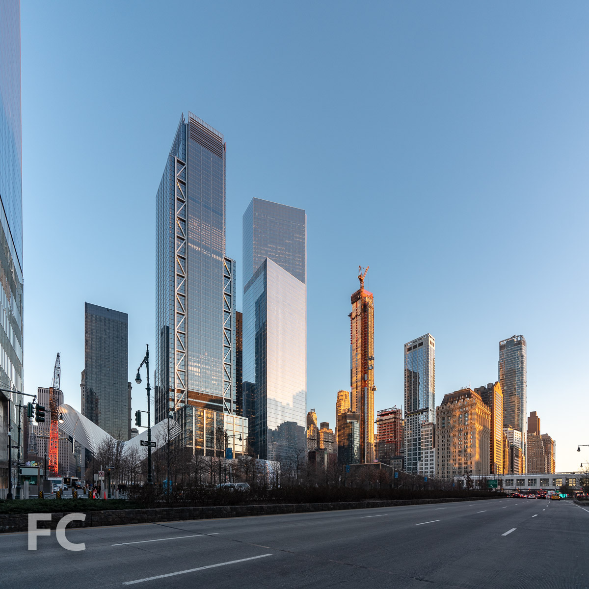 Northwest corner of the tower and the World Trade Center site from West Street.