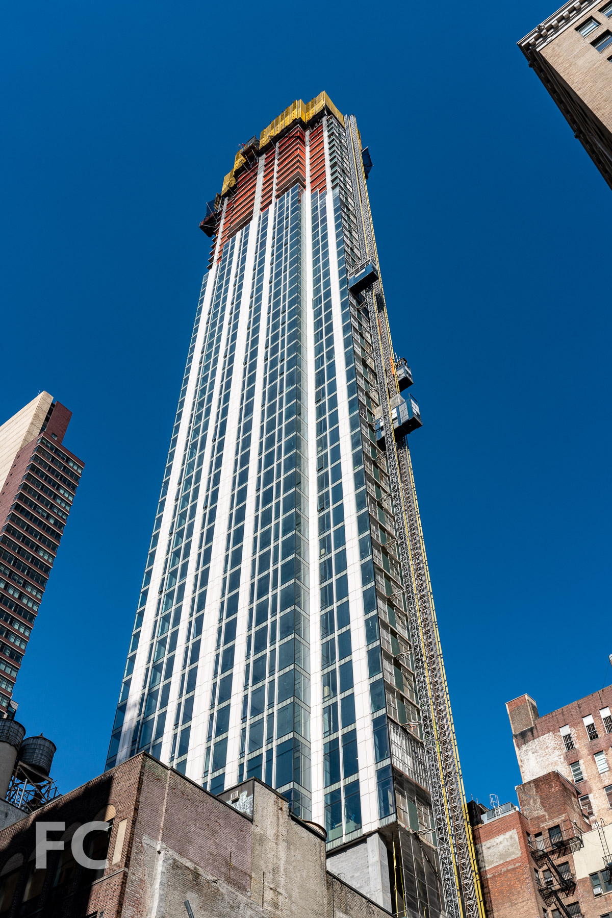 Looking up at the northeast corner from Madison Avenue.