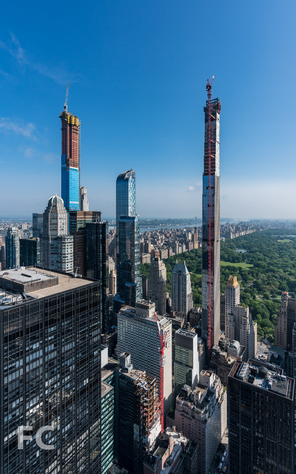 View northwest towards the West 57th Street towers and Central Park from an upper floor apartment.