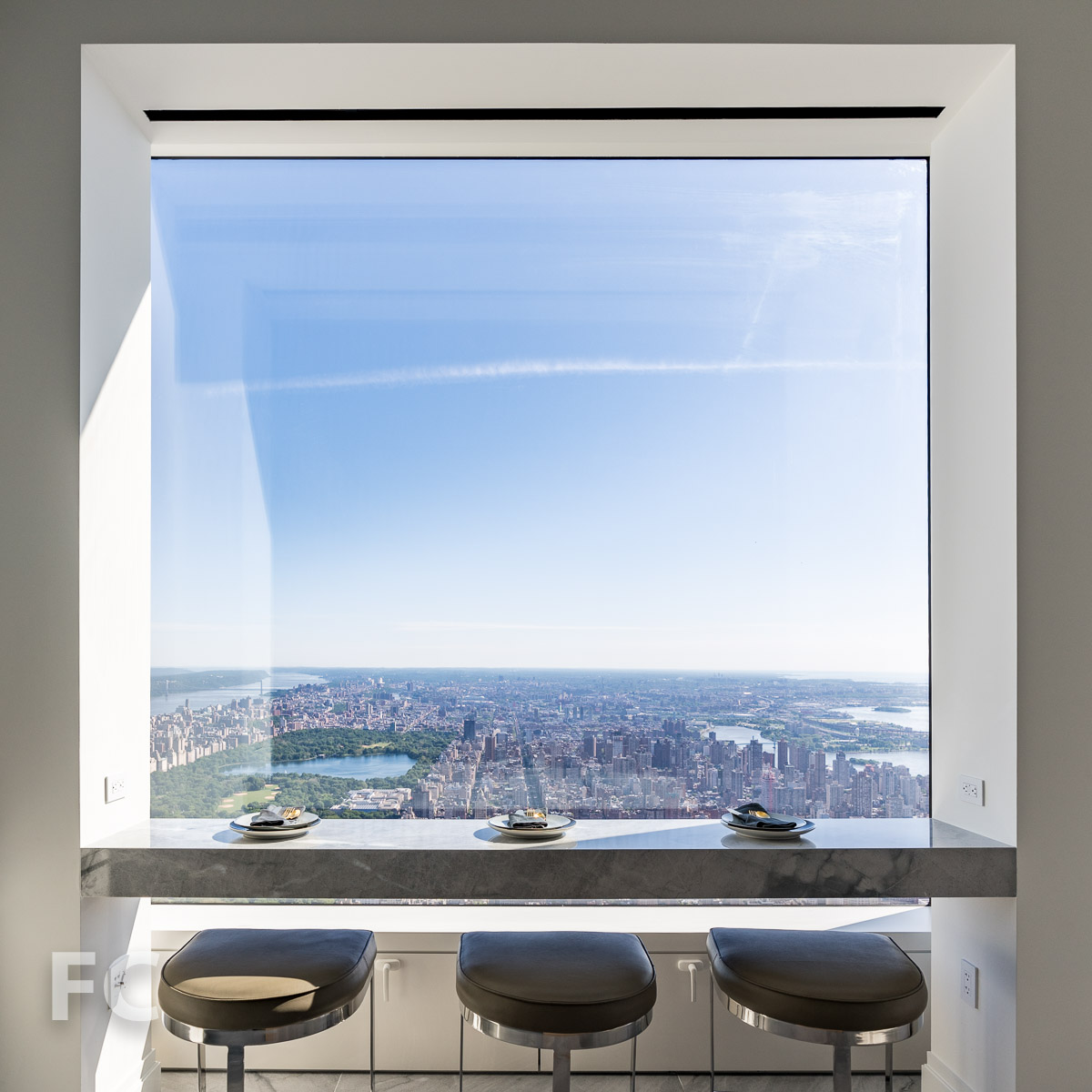 Kitchen window facing north toward Central Park and northern Manhattan.