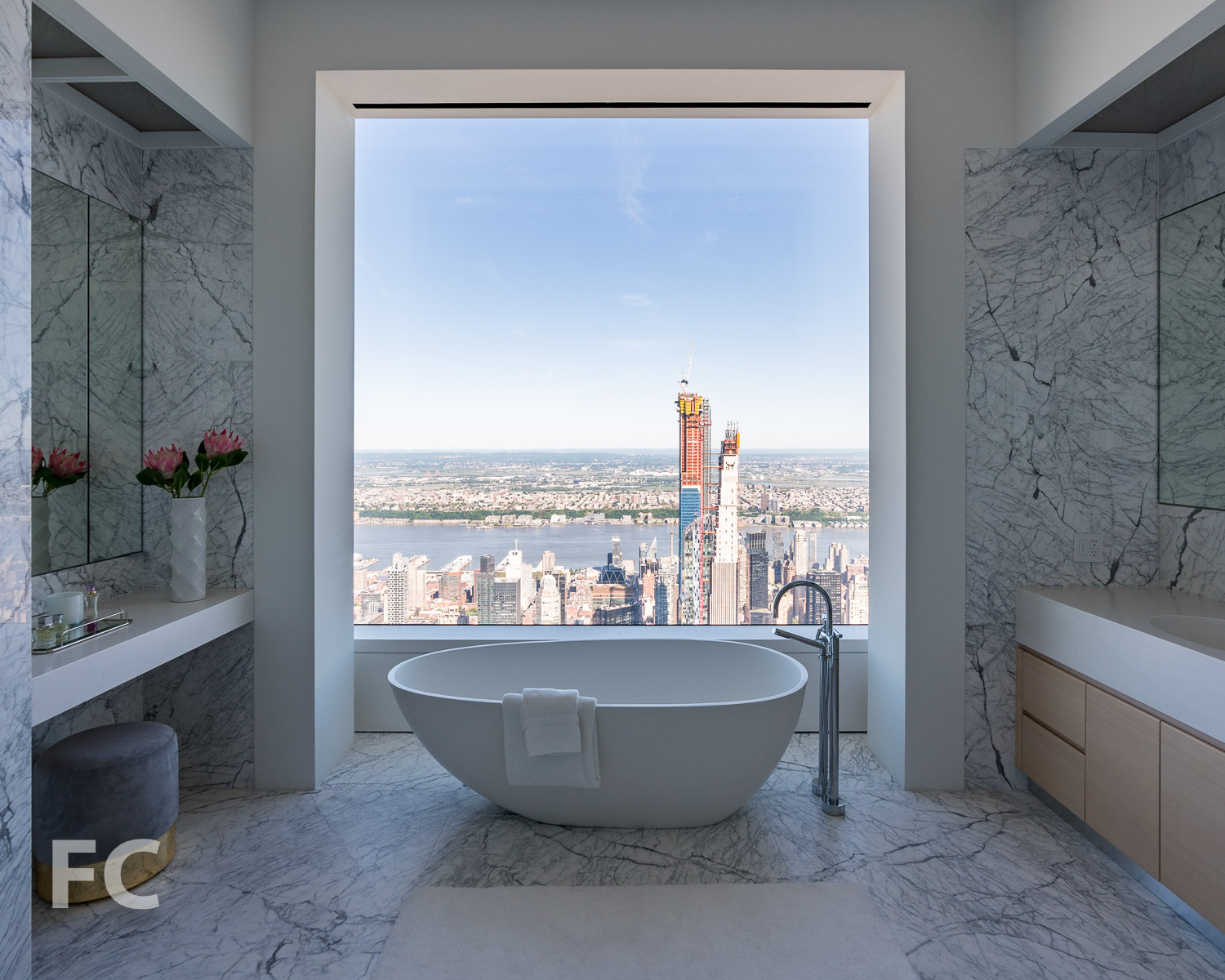 Master bathroom with a west view.