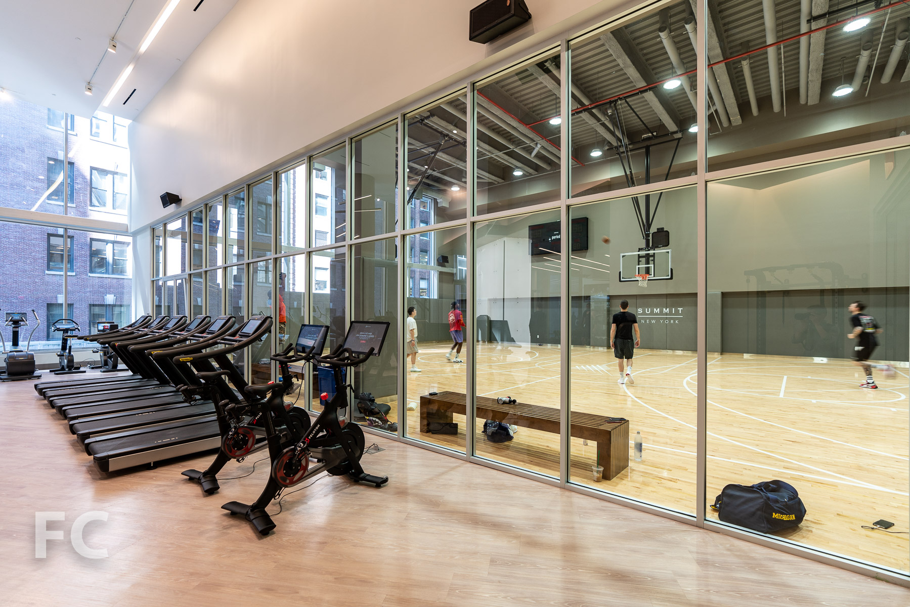 Basketball court and fitness center at the Arena level.