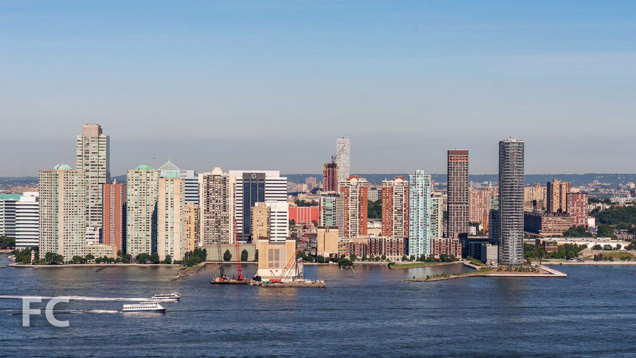 View south towards Jersey City from the top floor.