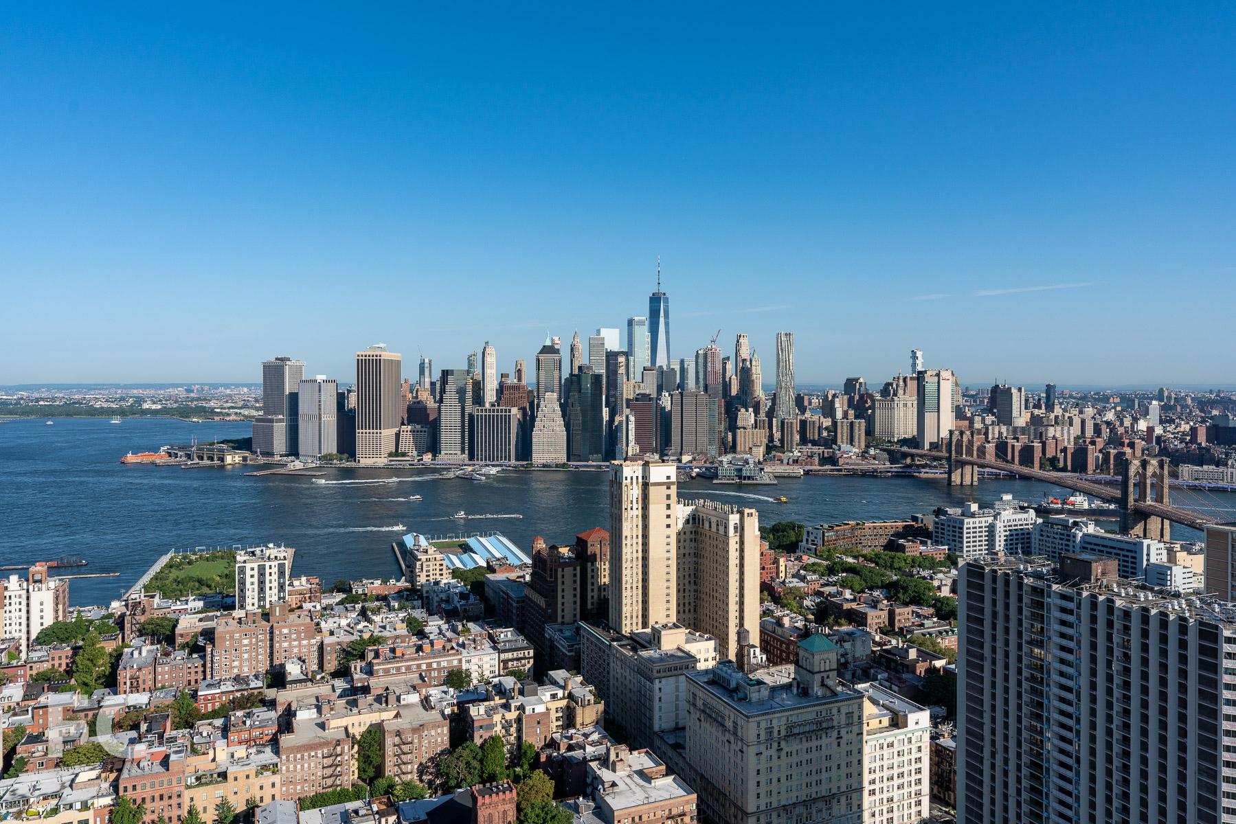 Northwest view towards Lower Manhattan from the top floor.