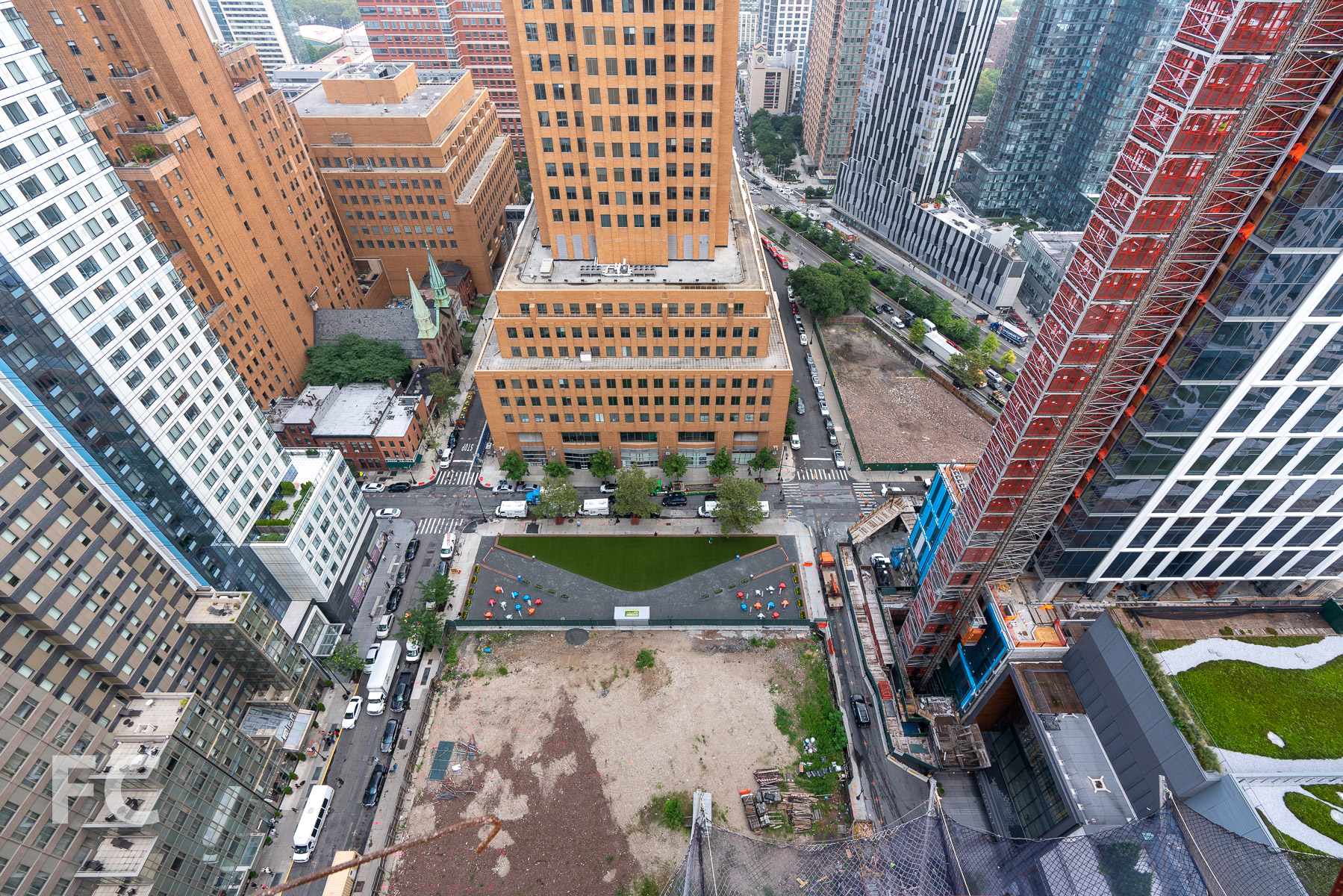 Looking down on the future site of Willoughby Square Park.