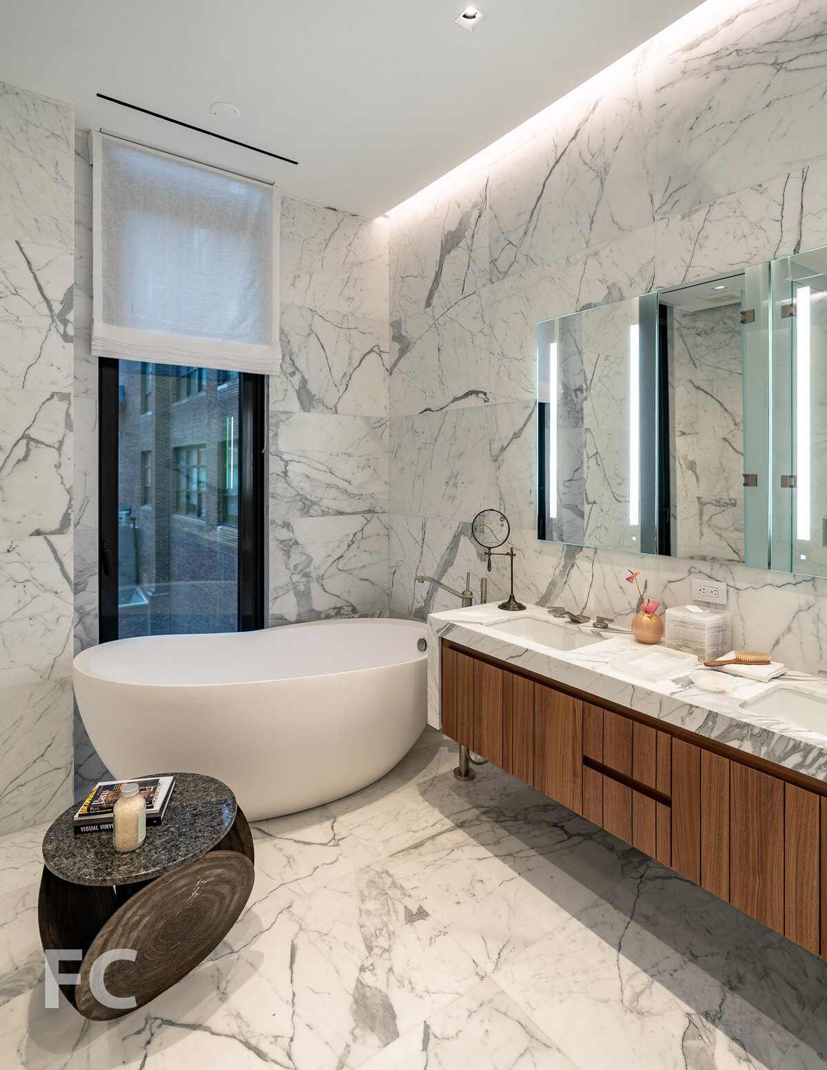 Master bath in the model home at The Residences.