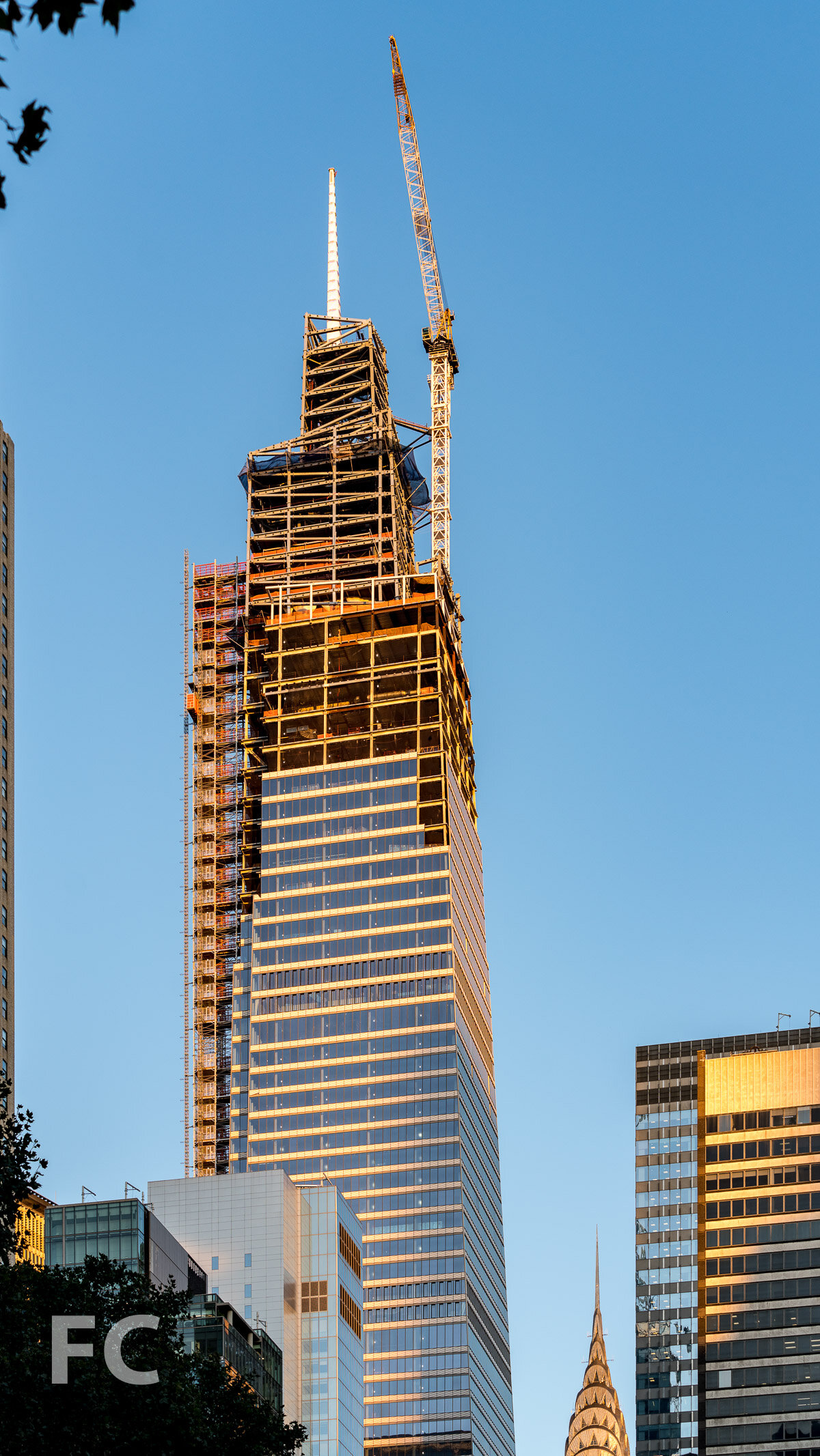 Southwest corner of the tower rising in Midtown.
