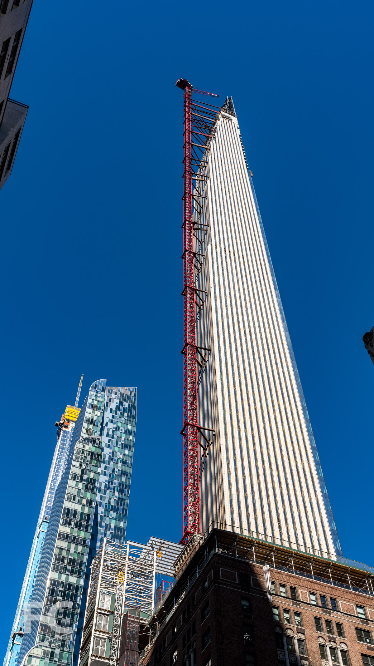 Looking up at the south facade from West 57th Street.