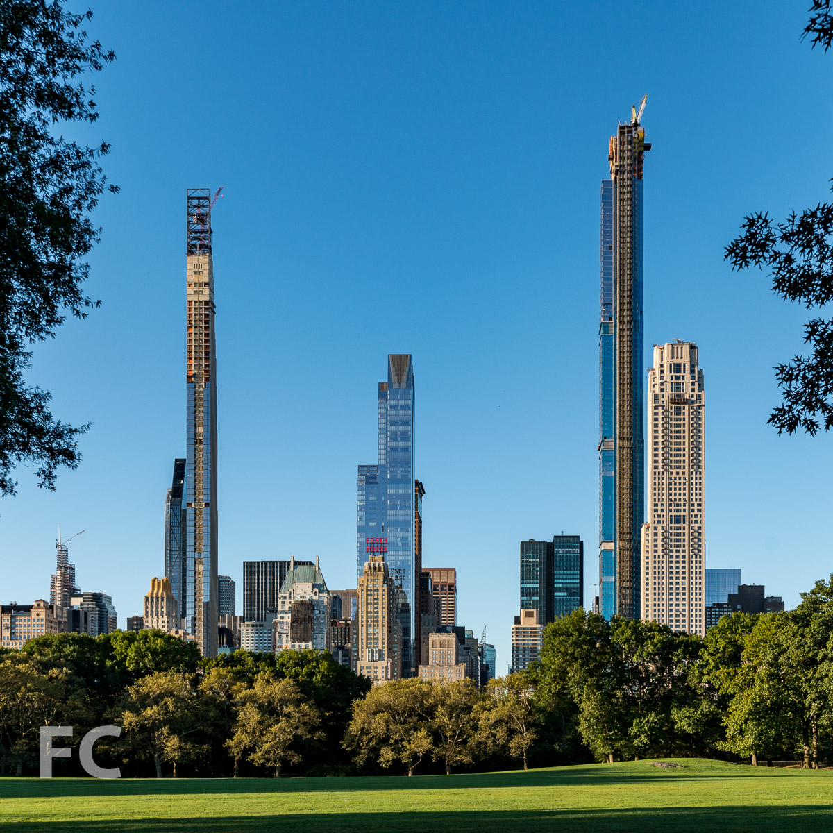 Billionaire's Row skyline from the Sheep Meadow in Central Park.