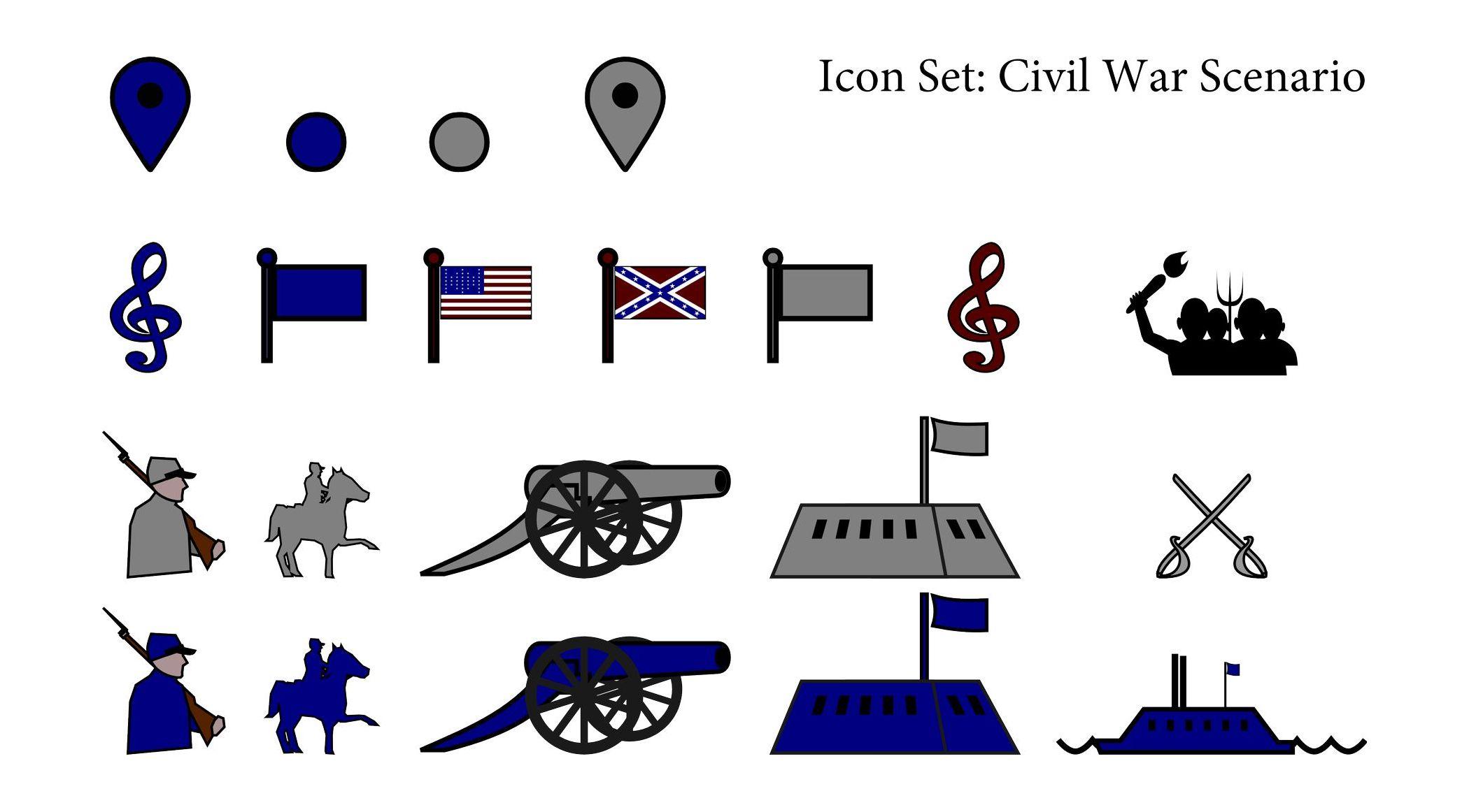 Icon Set: Civil War Scenario