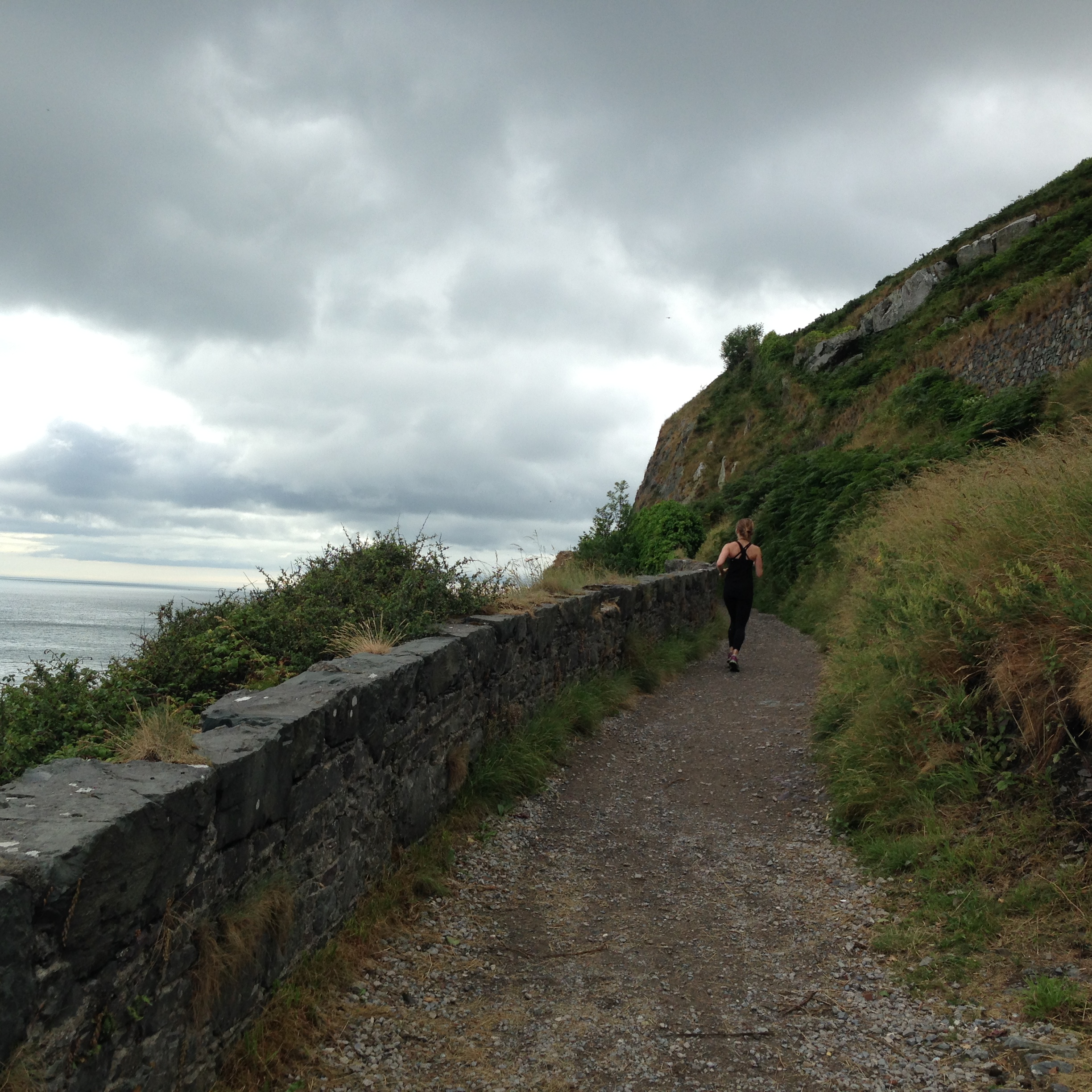 running the clif walk from greystones to bray and back again.