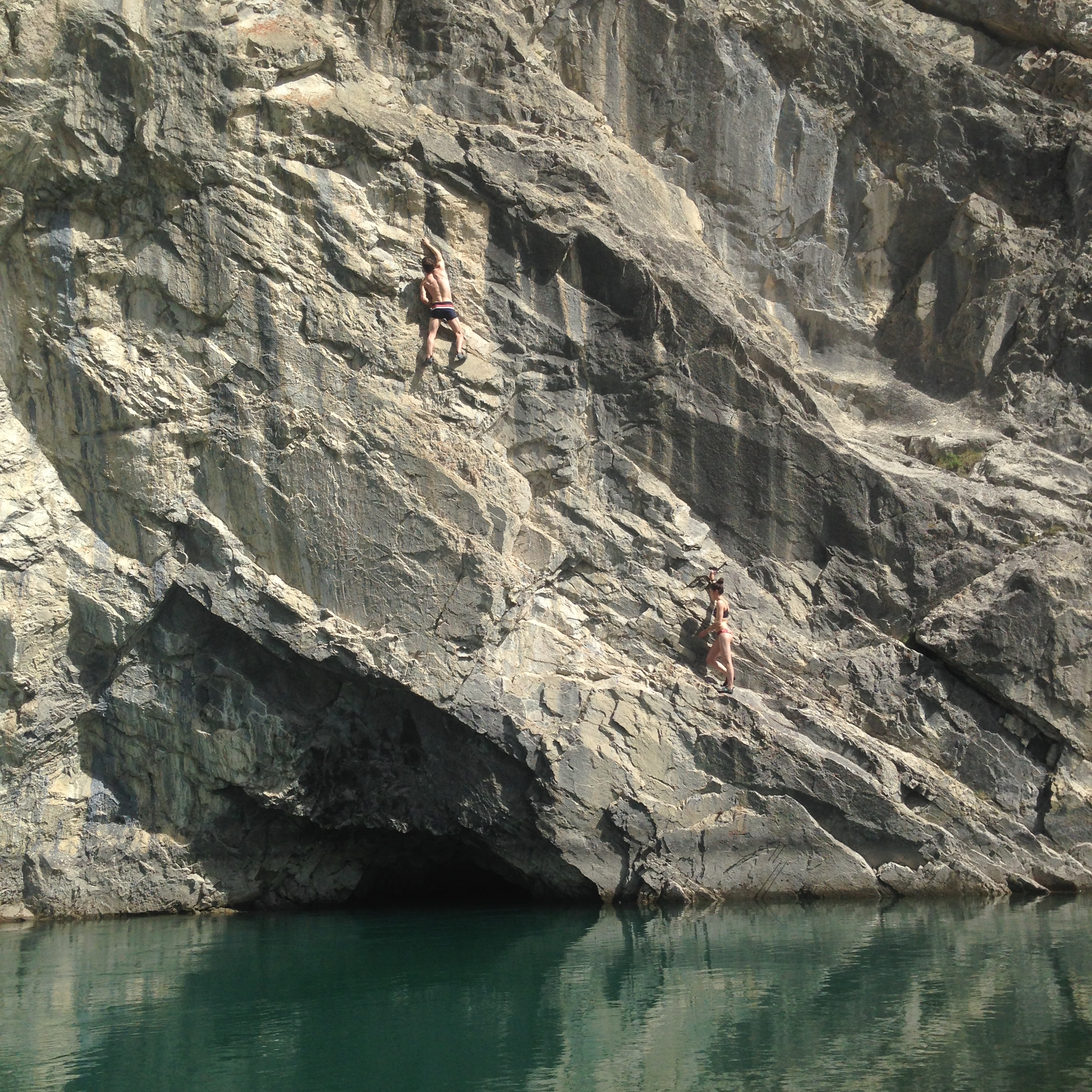 then canmore got really hot, so we (well...not me, i watched) did some deep water soloing.
