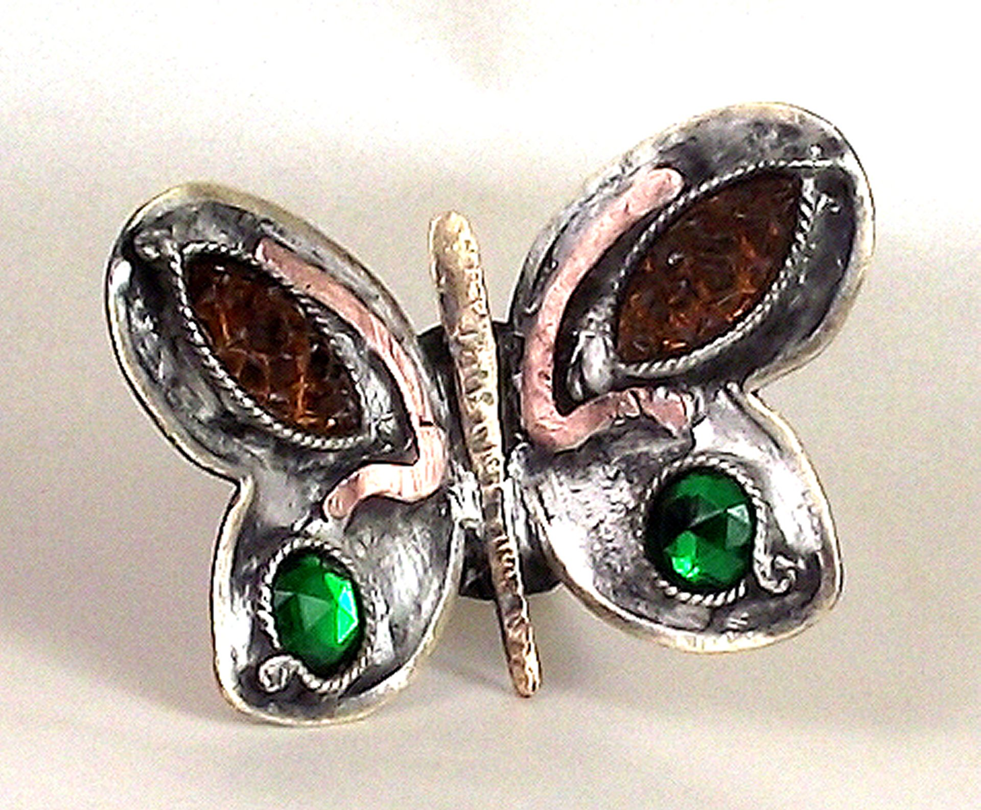 Hand-fabricated, mixed-metal butterfly ring set with vintage crystal navettes & rose-cut rounds.