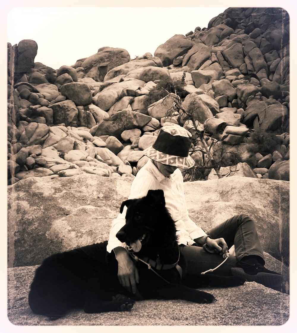 Sparky and I on a cool fall day at Joshua Tree National Park almost a stone's throw away from my studio.